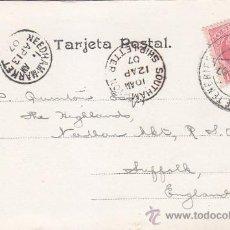 Sellos: 1907 TENERIFE SANTA CRUZ CANARIAS MUY RARA POSTAL MATASELLOS SOUTHAMPTON SHIP LETTER Y DE LLEGADA. Lote 31592969