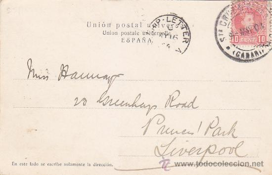 1904 PLAZA CONSTITUCION TENERIFE CANARIAS MUY RARA POSTAL MATASELLOS SOUTHAMPTON SHIP LETTER LLEGADA (Sellos - Historia Postal - Sello Español - Sobres Circulados)
