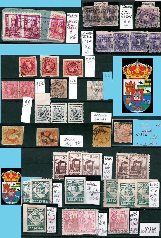 AVILA Y PROV.-HISTORIA POSTAL, MATASELLOS, E.LOCALES Y T.P.-P.V.1.956 €. VER 6 PLANCHAS-CONDICIONES (Sellos - Historia Postal - Sello Español - Sobres Circulados)