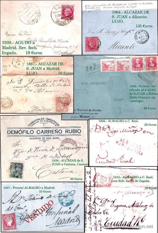 CIUDAD REAL Y PROV..- HISTORIA POSTAL, CARTAS Y MAPA. P.V. 1.458 €. VER 7 PLANCHAS Y CONDICIONES. (Sellos - Historia Postal - Sello Español - Sobres Circulados)