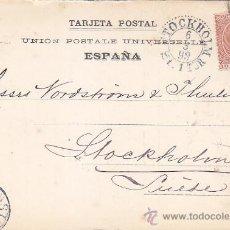 Sellos: 1898 ALFONSO XIII PELON TARJETA COMERCIAL IMPRESION PRIVADA C.G. LINDSTROM BARCELONA-SUECIA LLEGADA. Lote 31606482