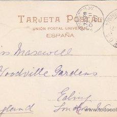 Sellos: 1907 CORREOS ESTACION DE CORDOBA: RARO MATASELLOS EN TARJETA POSTAL CIRCULADA A INGLATERRA. LLEGADA.. Lote 31606888