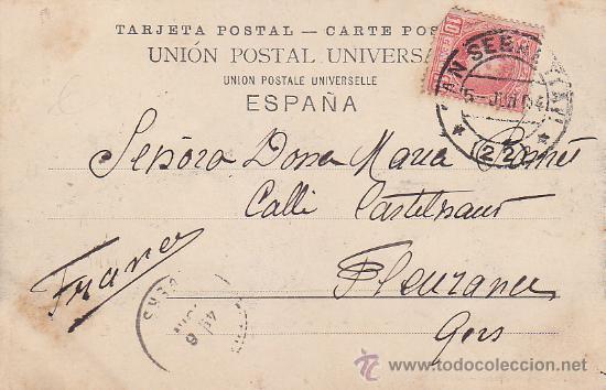 1904 BONITA Y RARA TARJETA POSTAL 16557 B ROMMLER & JONAS SAN SEBASTIAN A GERS (FRANCIA). LLEGADA. (Sellos - Historia Postal - Sello Español - Sobres Circulados)