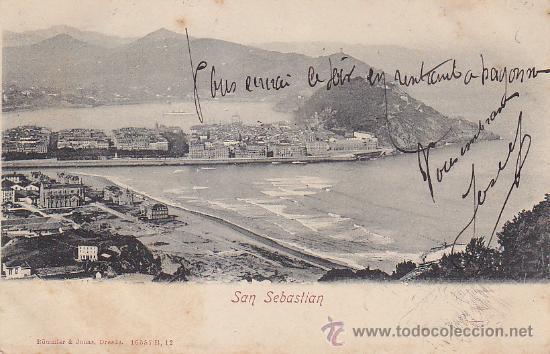 Sellos: 1904 BONITA Y RARA TARJETA POSTAL 16557 B ROMMLER & JONAS SAN SEBASTIAN A GERS (FRANCIA). LLEGADA. - Foto 2 - 31620991