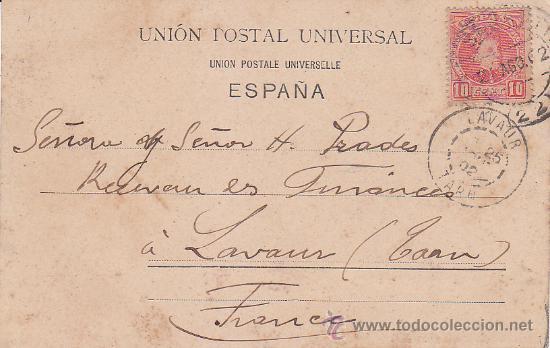 1902 BONITA Y RARA TARJETA POSTAL SAN SEBASTIAN 10531 ROMMLER & JONAS CIRCULADA A FRANCIA. LLEGADA. (Sellos - Historia Postal - Sello Español - Sobres Circulados)