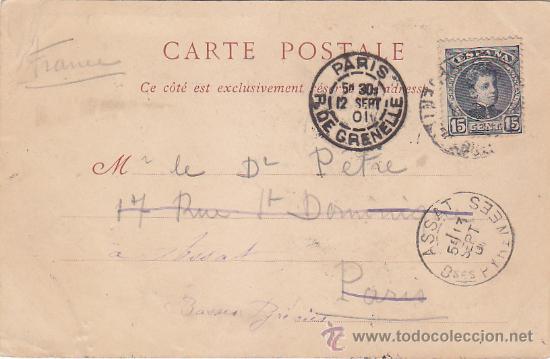 1901 BONITA Y RARA TARJETA POSTAL ND PHOT DE FUENTERRABIA (GUIPUZCOA) A FRANCIA. REEXPEDIDA LLEGADAS (Sellos - Historia Postal - Sello Español - Sobres Circulados)