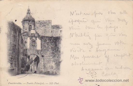 Sellos: 1901 BONITA Y RARA TARJETA POSTAL ND PHOT DE FUENTERRABIA (GUIPUZCOA) A FRANCIA. REEXPEDIDA LLEGADAS - Foto 2 - 31634471