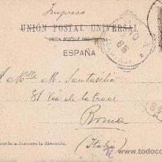 Sellos: ALFONSO XIII PELON MUY RARA TARJETA POSTAL PASEO DE GRACIA IZQUIERDA DE BARCELONA A ROMA CON LLEGADA. Lote 31657273