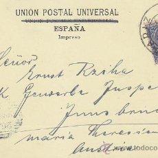 Sellos: 1899 ALFONSO XIII PELON EN RARA TARJETA COLOREADA SINCEROS SALUDOS DE CADIX CADIZ-AUSTRIA LLEGADA.. Lote 31699676