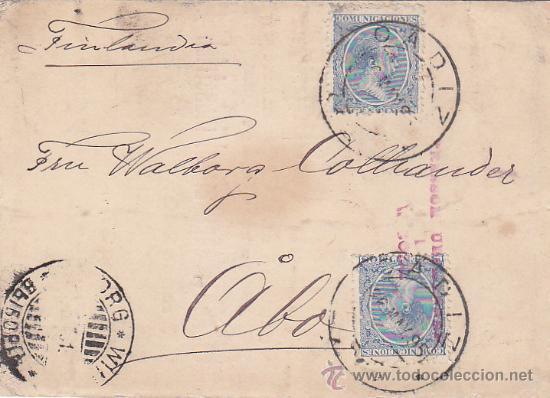 1895 ALFONSO XIII PELON EN MUY RARA TARJETA COMERCIAL HOLBEK & CIA DE CADIZ A FINLANDIA. LLEGADA. (Sellos - Historia Postal - Sello Español - Sobres Circulados)