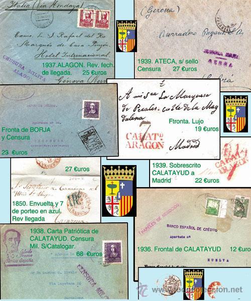 ZARAGOZA Y PROV.- HISTORIA POSTAL 16 PLANCHAS CON 123 PIEZAS P.V.P. 3.330 €. VER CONDICIONES. (Sellos - Historia Postal - Sello Español - Sobres Circulados)
