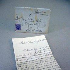 Sellos: CARTA Y SOBRE CIRCULADO 1917, SELLO DE CASAS IBAÑEZ Y ALBACETE, ALFONSO XIII, 15 CENTIMOS. Lote 32935759
