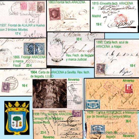 HUELVA Y PROVINCIA.- H.POSTAL., CARTAS, MAT. Y E. LOCALES. P.V. 2.210 € VER 11 FOTOS Y CONDICIONES. (Sellos - Historia Postal - Sello Español - Sobres Circulados)