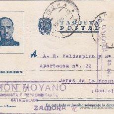 Sellos: GENERAL FRANCO TARJETA PATRIOTICA RAMON MOYANO CIRCULADA 1943 DE ZAMORA A JEREZ DE LA FRONTERA CADIZ. Lote 34726631