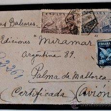 Sellos: SOBRE DE LUTO. CIRCULADO CERTIFICADO (CORREO AEREO) ENVIADO POR EL TERCER CONDE DE BELLAMAR!! 1950!!. Lote 35768876