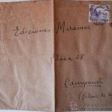 Sellos: SOBRE CIRCULADO MADRID-MALLORCA (1949) REMITE DEL PINTOR MANUEL CORRALES EGEA. Lote 35819848