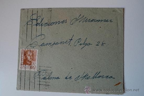 SOBRE CIRCULADO BARCELONA-MALLORCA CON REMITE DE LA ESCULTORA LUISA GRANERO (Sellos - Historia Postal - Sello Español - Sobres Circulados)