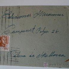 Sellos: SOBRE CIRCULADO BARCELONA-MALLORCA CON REMITE DE LA ESCULTORA LUISA GRANERO . Lote 36011656