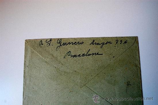 Sellos: SOBRE CIRCULADO BARCELONA-MALLORCA CON REMITE DE LA ESCULTORA LUISA GRANERO - Foto 2 - 36011656