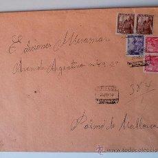 Sellos: SOBRE CIRCULADO CERTIFICADO (20 FEB.1950) BARCELONA-MALLORCA CON REMITE LUISA GRANERO (5 SELLOS) . Lote 36011705