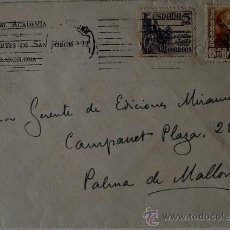 Sellos: SOBRE CIRCULADO BARCELONA-PALMA DE MALLORCA, REMITE DEL PINTOR LUIS MASRIERA, 1949 . Lote 36371483