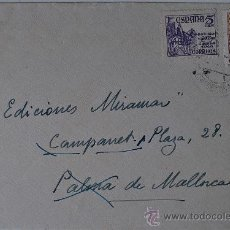 Sellos: SOBRE CIRCULADO LLAVANERAS-CAMPANET (MALLORCA) CON REMITE DEL PINTOR LUIS MASRIERA . Lote 36371729