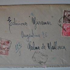 Sellos: SOBRE CIRCULADO MADRID-MALLORCA, REMITE DEL PINTOR JUAN ANTONIO DE ACHA, SELLOS CERA CON ESCUDO . Lote 36383801