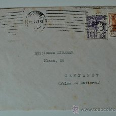 Sellos: SOBRE CIRCULADO PREMIA DE MAR-PALMA DE MALLORCA, REMITE DEL PINTOR SALVADOR MORAGAS, 1951 . Lote 36438156