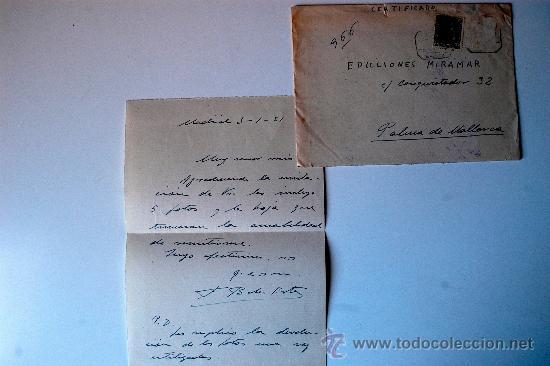 CARTA ESCRITA A MANO POR EL ESCULTOR FERNANDO BACH-ESTEVE, FIRMADA + SOBRE CIRCULADO CERTIFICADO (Sellos - Historia Postal - Sello Español - Sobres Circulados)
