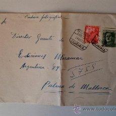 Sellos: SOBRE CIRCULADO CERTIFICADO, SALAMANCA-PALMA DE MALLORCA, ENVIADO POR EL PINTOR DE GUIJUELO, ANDRES . Lote 37147588