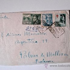 Sellos: SOBRE CIRCULADO CERTIFICADO 1953, REMITE DEL PINTOR EDUARDO SANTOS MURILLO GASTOS DE ENVÍO: . Lote 37259921