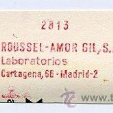 Sellos: FRANQUEO MECÁNICO ESPAÑA - Nº 108 - MADRID 1968 / ROUSSEL-AMOR GIL - LABORATORIO MEDICINA. Lote 37542392
