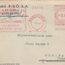 Sellos: FRANQUEO MECANICO JAIME RIBO S.A. EN RARA TARJETA MAXIMO 1949 DE BARCELONA A MERIDA (BADAJOZ).. Lote 37557658
