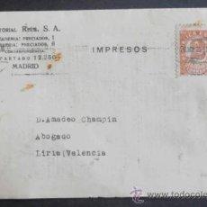 Timbres: (5118)IMPRESOS,EDITORIAL REUS,DE MADRID A LIRIA,VALENCIA,CONSERVACION:. Lote 37579498