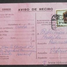 Sellos: (5190)AVISO DE RECIBO,DE VALENCIA A MADRID,1977,CONSERVACION:. Lote 37586227