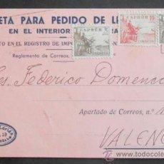 Sellos: (5283)TARJETA POSTAL,ENRIQUE LERIDA,CIUDAD REAL A VALENCIA,CONSERVACION:. Lote 37633593