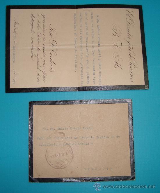 SOBRE Y CARTA MADRID VALENCIA DIRECCION GENERAL DE PRISIONES, SELLO DEL MINISTERIO DE JUSTICIA 1919 (Sellos - Historia Postal - Sello Español - Sobres Circulados)