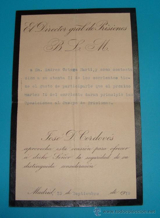 Sellos: SOBRE Y CARTA MADRID VALENCIA DIRECCION GENERAL DE PRISIONES, SELLO DEL MINISTERIO DE JUSTICIA 1919 - Foto 3 - 37616870