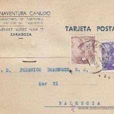 Sellos: PRO TUBERCULOSOS 1939 TARJETA COMERCIAL (BUENAVENTURA CANUDO) DE ZARAGOZA A VALENCIA. RARA ASI.. Lote 37835612