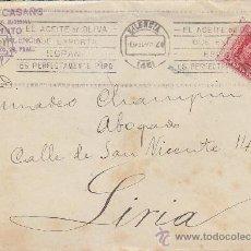 Sellos: EL ACEITE DE OLIVA QUE EXPORTA ESPAÑA ES...., VALENCIA 1929. MATASELLOS DE RODILLO EN CARTA. LLEGADA. Lote 37840488