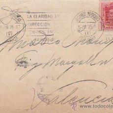Sellos: RAROS ALCANCE MEDIODIA V Y MATASELLOS RODILLO LA CLARIDAD..EN CARTA 1925 MADRID A VALENCIA. LLEGADA . Lote 37841035