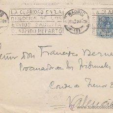 Sellos: LA CLARIDAD EN LA DIRECCION DE LOS ENVIOS FACILITA..MATASELLOS RODILLO 1922 EN CARTA MADRID-VALENCIA. Lote 37842681