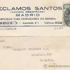 Sellos: PRO TUBERCULOSOS 1940 (EDIFIL 937) UNICO FRANQUEO TARJETA COMERCIAL RECLAMOS SANTOS MADRID-VALENCIA.. Lote 37850222