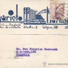 Sellos: PRO TUBERCULOSOS 1939 EN TARJETA COMERCIAL CIRCULADA DE ALICANTE A VALENCIA. RODILLO LLEGADA. RARA.. Lote 37850267