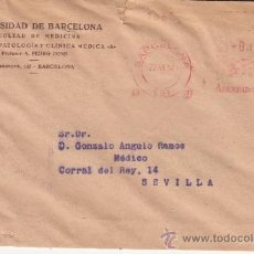 Sellos: FRANQUEO MECANICO 627 BARCELONA, UNIVERSIDAD BARCELONA, FACULTAD DE MEDICINA. Lote 37852784