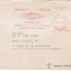 Sellos: FRANQUEO MECANICO 308 MANRESA (BARCELONA), MANUFACTURAS DE LA PIEL, PROVEEDOR DEL EJERCITO. Lote 37852920