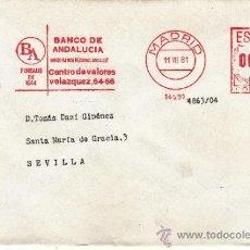 Sellos: FRANQUEO MECANICO 14591 MADRID, FUNDADO EN 1844, BANCO DE ANDALUCIA, UNICO BANCO REGIONAL ANDALUZ . Lote 37854250