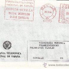 Sellos: FRANQUEO MECANICO 14577 SEVILLA, C.T.N.E., COBROS - SEVILLA, TARIFA REDUCIDA, CLASE ESPECIAL. Lote 37854272