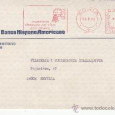 Sellos: FRANQUEO MECANICO 13736 MODIFICADO SORIA, BANCO HISPANO AMERICANO, NUESTROS CHEQUES DE VIAJE SON DIN. Lote 37871826