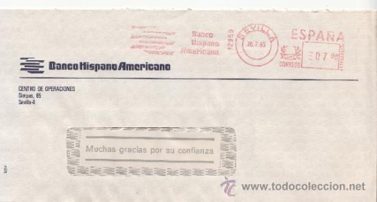 FRANQUEO MECANICO 12959 SEVILLA, BANCO HISPANO AMERICANO, (Sellos - Historia Postal - Sello Español - Sobres Circulados)